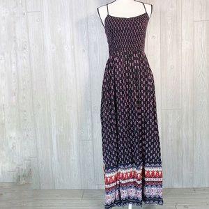 Band of Gypsies Boho Maxi Dress Sleeveless Smocked